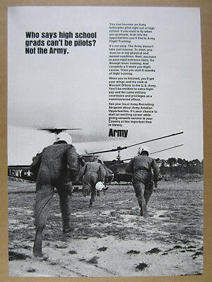 1967 US Army Warrant Officer Helicopter Pilot recruitment vintage print Ad