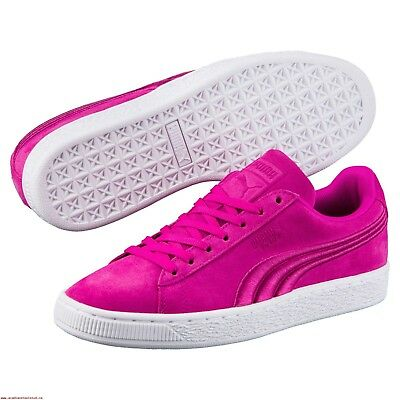 5cd29f241dd0 New Puma Mens Classic Suede Badge All Pink White Lace Up Sneaker Shoes Size  9