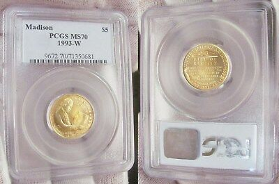 1993 W $5 Madison Gold Commemorative Coin PCGS Certified MS 70