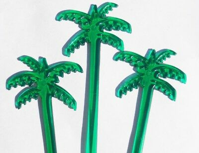 """20 Green PALM TREES Leaves 7"""" Acrylic TROPICAL DRINK Cocktail Swizzle STIRRERS"""