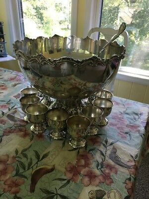 "Large 16"" BIRMINGHAM SILVERPLATE SILVER ON COPPER PUNCH BOWL & LADLE SET 12 CUPS"