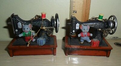 Two Versions of the same Ornament ~ Mouse on a Sewing Machine