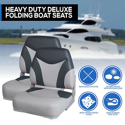New Model Boat Seats Folding Extra Support w/ Swivels All Weather Grey Charcoal