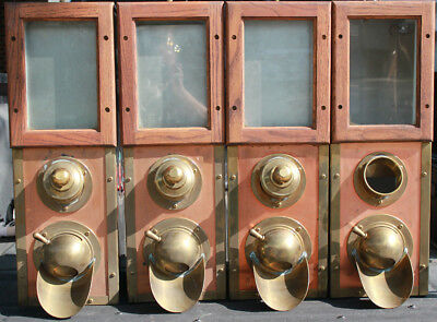 LOT OF (4) Brass Copper sheeting on front and glass COFFEE BEAN DISPENSERS