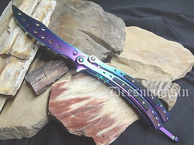 CSGO Practice Knife Balisong Training Butterfly CS GO RAINBOW Tactical Combat CH