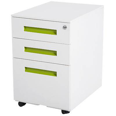 Lockable File Cabinet Pedestal 3 Drawers Mobile with Casters -White Metal Home