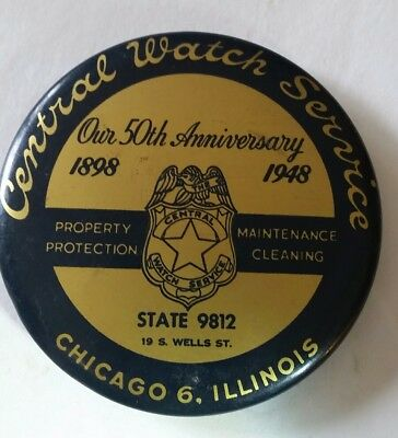 Advertising Pocket Mirror 1948 Central Watch Service Protection Security