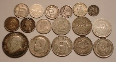 17 piece GREAT MIX Silver Coins CHINA, RUSSIA, FRANCE, S AFRICA + 2.5 oz troy oz