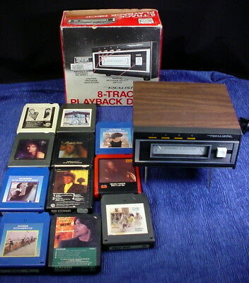 Vintage Realistic 8 Track Player Deck Model 14-93S With Eleven 8 Track Tapes