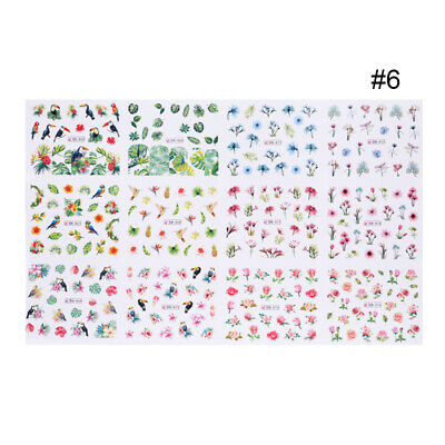 Toucan Flamingos Nail Water Decals Rose Flower Leaf Nail Art Transfer Stickers