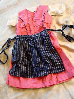 Girls Dirndl Tyrol Austria German Dress size 6 Apron Blouse 3 pc Eu 110 Pink