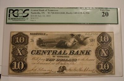 1855 $10 Ten Dollar Central Bank of Tennessee PCGS VF 20 Bank Note BEAUTIFUL