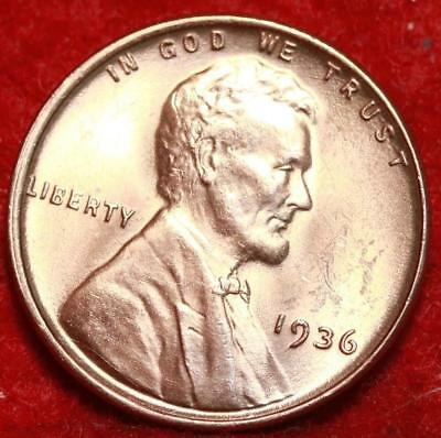 Uncirculated 1936  Red Philadelphia Mint Copper Lincoln Wheat Cent