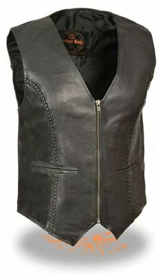 Milwaukee Womens Zipper Front Braided Vest Black