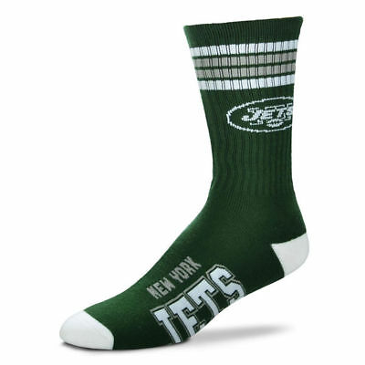 New York Jets Adult 4 Stripe Deuce Team Color Socks-1pair-Large New Free S/H