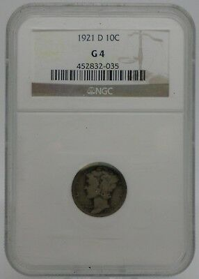 1921-D Mercury Silver 10 Cents, Certified by NGC G4, Key Date- #C11640