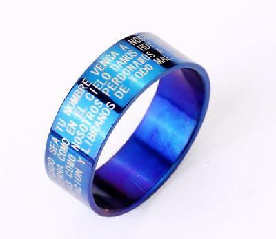 new blue style  jewelry stainless steel solid bible cool blue  rings  size11