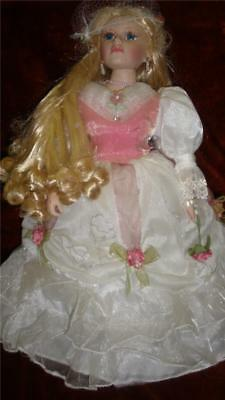 Collectable Bisque Porcelain Doll Beautifully Dressed With Stand White