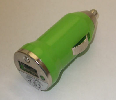 CAR CIGARETTE LIGHTER to USB Port Adapter MP3 Charger Green