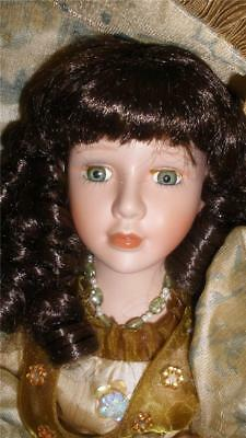 Collectable Bisque Porcelain Doll Beautifully Dressed + Stand Coffee