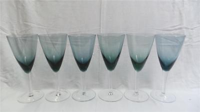 Smokey Blue Stemmed Wine Glasses X 6