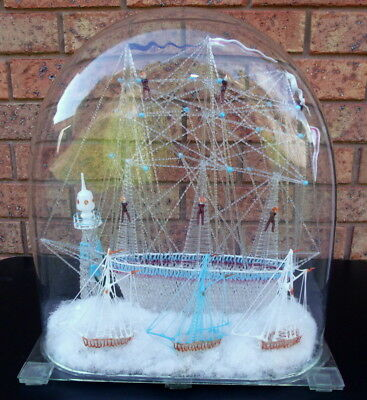 Rare Victorian Era Nailsea Large Sailing Ship Frigger In Dome - Perfect