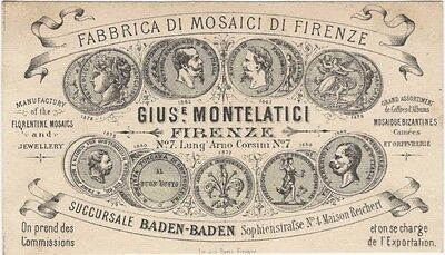 1880s Florence Italy Trade Card for Florentine Mosaic Maker - Stonework