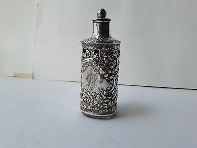 Beautiful HM Silver fully encased Art Nouveau perfume bottle w/original stopper