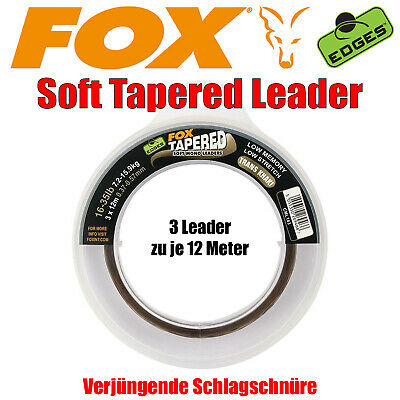 Fox Edges Soft Tapered Leader Trans Khaki - 3 x12m - Vorfach Schnur Schlagschnur