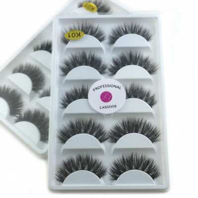 5Pairs 100% Real Mink 3D Volume Thick Daily False Eyelashes Strip Lashes beauty