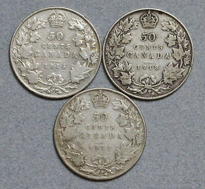CANADA 50 Cents 1916,1918,1919 - Lot of 3 Old .925 Silver Coins, No Res.!
