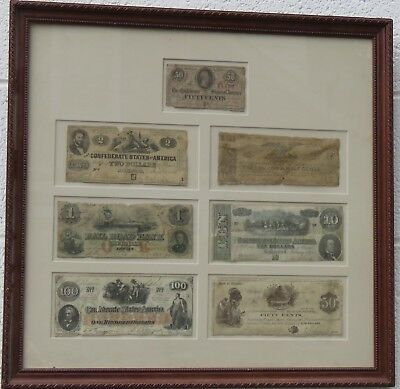 Vintage Framed Collection Of Confederate Money (7 Bills) / 6-13B