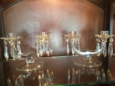 Vintage Double Candle Holder with Prisms