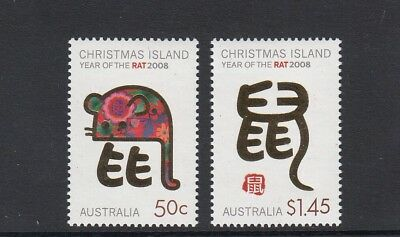 CHRISTMAS IS  2008  Year of the RAT design set of 2  MNH.