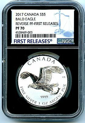 2017 $5 Canada 1Oz Silver Ngc Pf70 Bald Eagle Reverse Proof First Releases