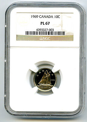 1969 Canada Dime 10 Cent Ngc Pl67 Proof Like Rare High Grade Certified Top Pop12