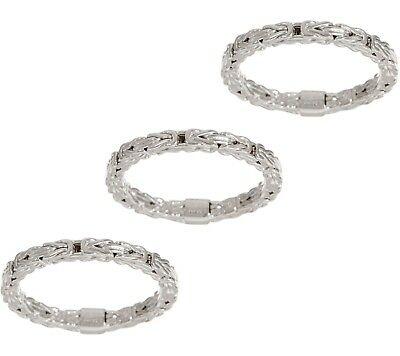 Set of 3 Stackable Byzantine Band Ring Real 925 Sterling Silver 5 6 7 8 9 10 QVC