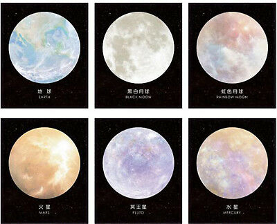 7.5cm Planet Galaxy Sticky Memo Notes Pads Self-Adhesive 30 Sheets Eco Quality