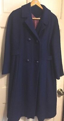 Vtg 1950s Stroock Wool(?) Coat Sapphire Blue Structured Coat~Satin Lining~M~EXC