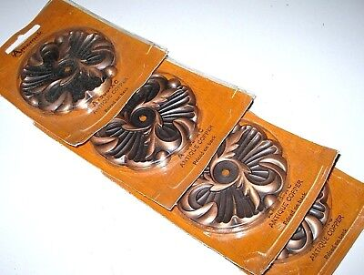 Lot of 4 Vintage Amerock Copper Dresser Drawer Cupboard Door Handle BACK PLATES
