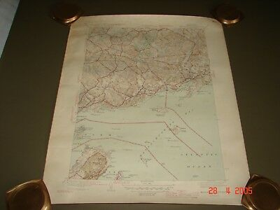 1945 Geological Survey, Marblehead, Salem, Beverly, Manchester, Ma. Harbors