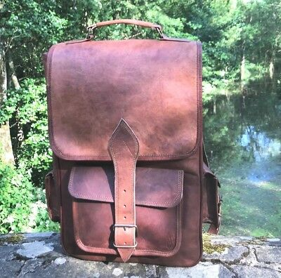 Hand Made Leather Backpack Large Bag Vintage Style Rucksack Brown Boho Festival