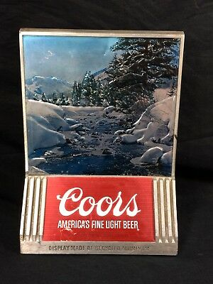 Vintage Coors Beer Sign Recycled Aluminum Back Bar Display Colorado