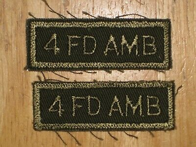 Canadian Army Shoulder Title badge set Combats 4th Field Ambulance