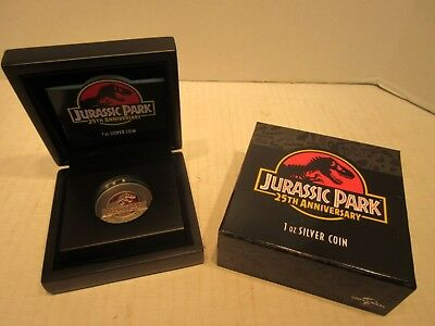 2018 Niue 2 Dollar 1 oz .999 Silver Coin Jurassic Park 25th Anniversary Antiqued