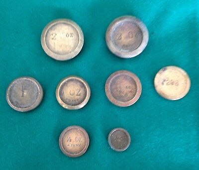 8 Mixed Antique & Vintage Brass Small Postal Scale Weights Job Lot Collection