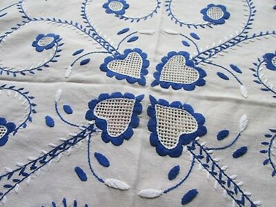 Vintage Hand Embroidered Table Cloth-BEAUTIFUL FLORAL & HEART'S WITH OPEN WORK