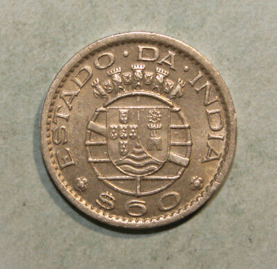 Portuguese India 60 Centavos 1959 Almost Uncirculated Coin - Portugal