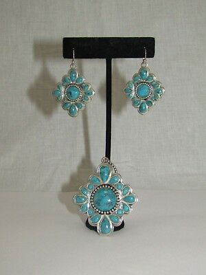 Barse Thai 925 Sterling Silver Turquoise Earrings & Pendant Set