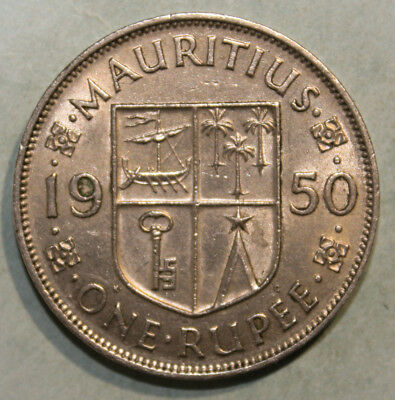Mauritius 1 Rupee 1950 Extremely Fine +++ Coin - King George VI